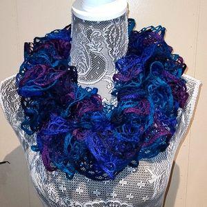 Crochet ruffled infinity scarf.
